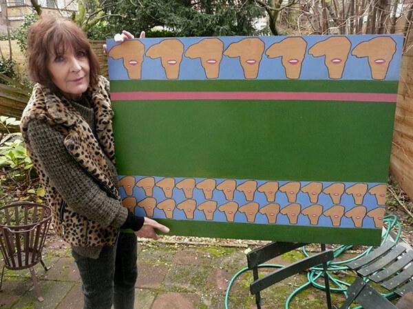 Josephine Sloet met met een karakteristiek Vrije Academie-werk (olieverf op hout) uit 1969