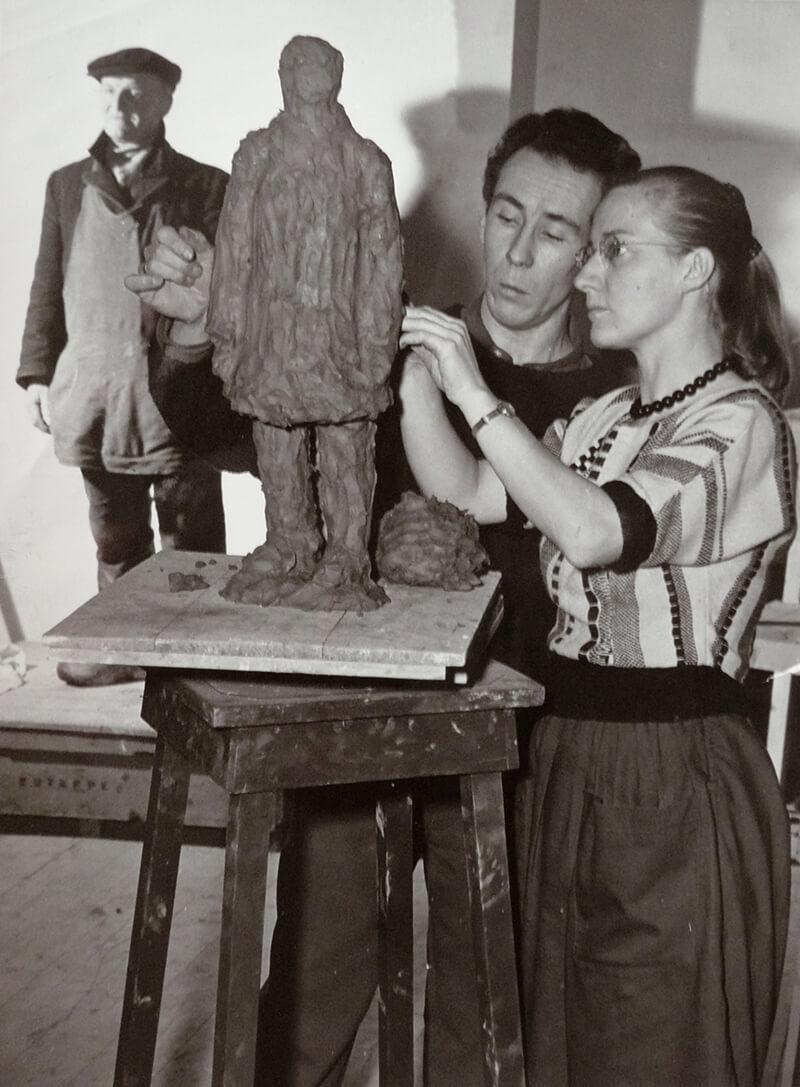 Aart van den IJssel met leerling, ca 1960