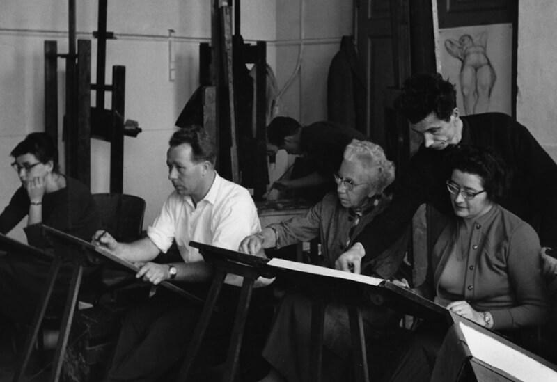 Ber Mengels in zijn klas aan de Hoefkade
