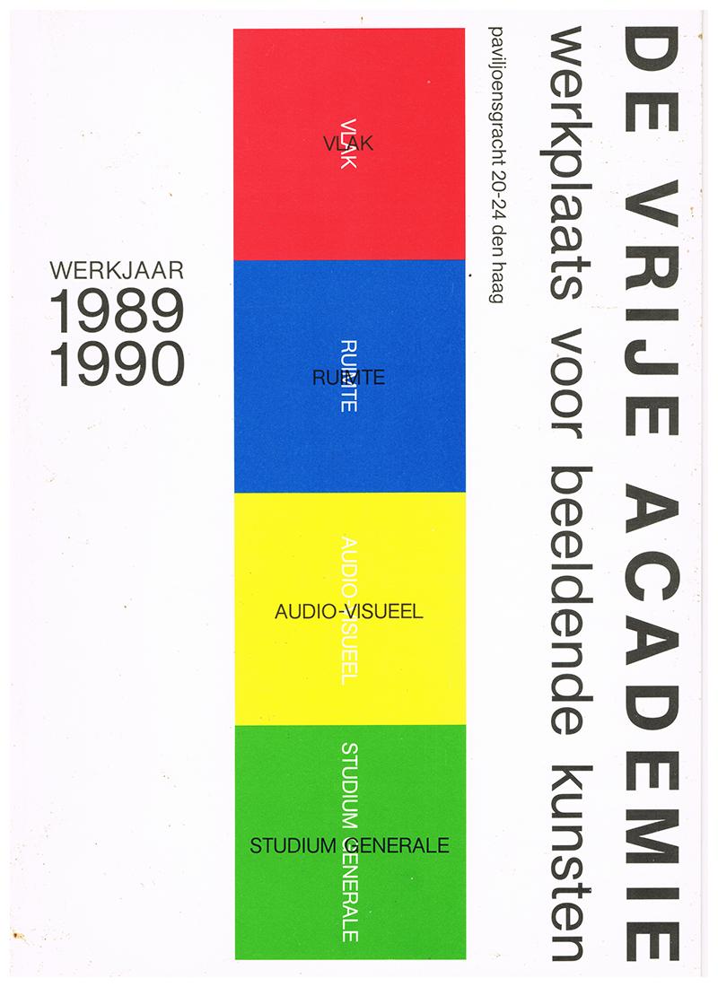 Omslag prospectus 1989-1990, ontwerp Bob Bonies