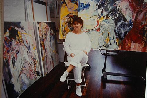 Ger Jansen in haar atelier, midden jaren '80