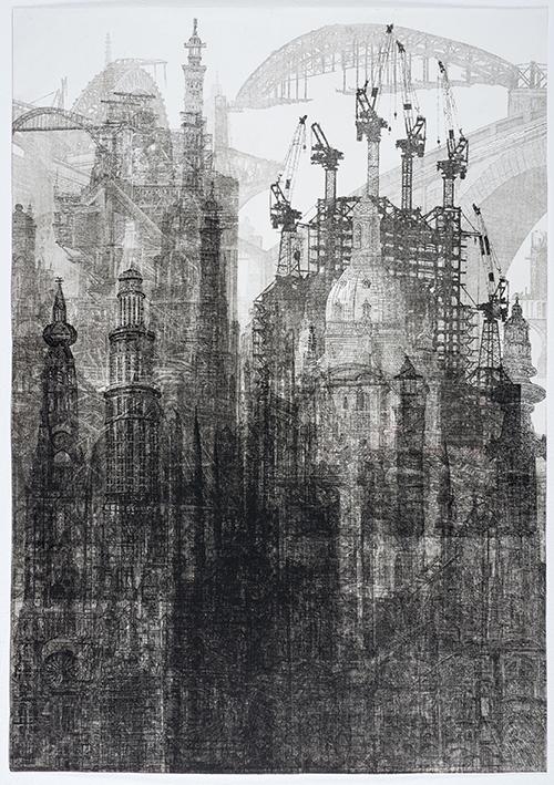 'De stad waar de mensen niet konden stoppen met bouwen' (ets/monoprint - 70 x 100 cm), Van Ommeren de Voogd Prijs 2019