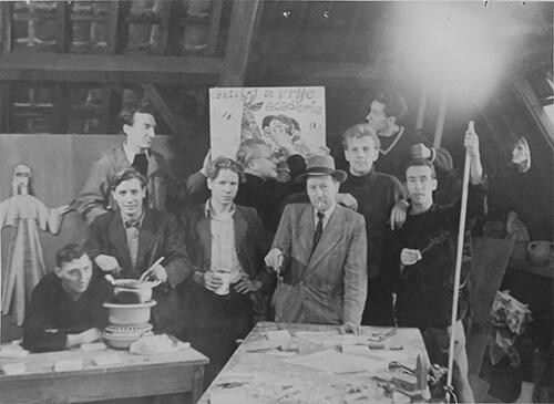 Model, ?, Piet Nieuwenhuijsen, ?, Livinus van de Bundt, Jan van Heel, Ton Hoogendoorn, Leon Zeldenrust en Aart van den IJssel (1948)