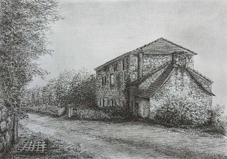 Dordogne, pentekening 50x50 (Abé van der Werff, 2019)