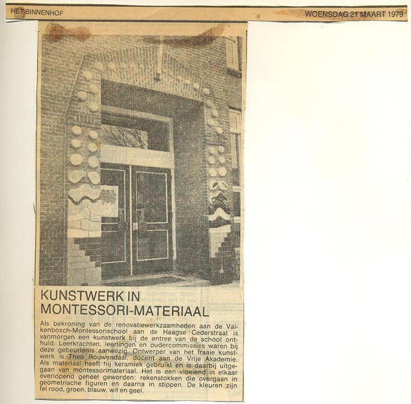 Artikel in Het Binnenhof over keramiek aan de Montessorischool in Den Haag