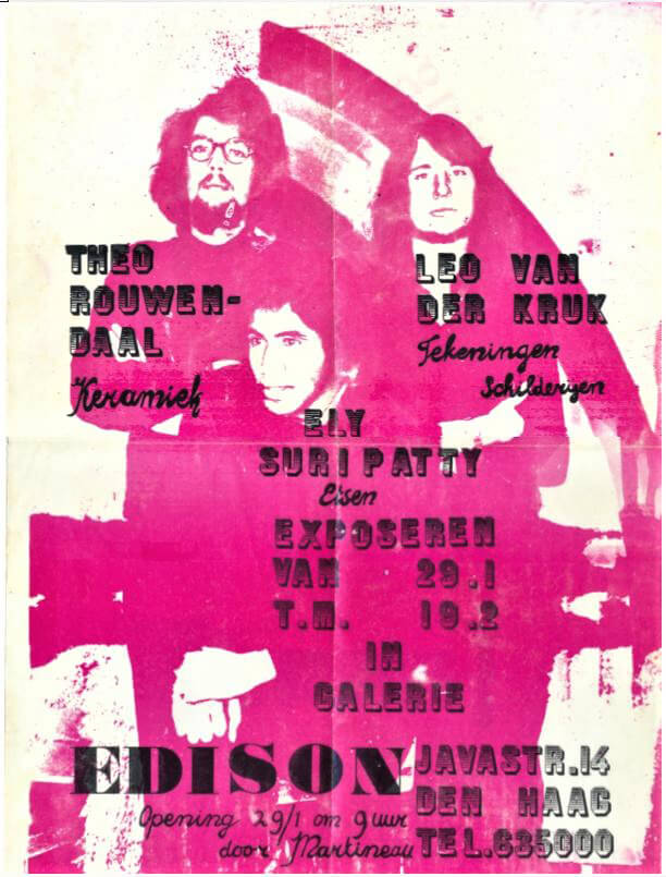 Affiche tentoonstelling galerie Edison Javastraat Den Haag, 1971
