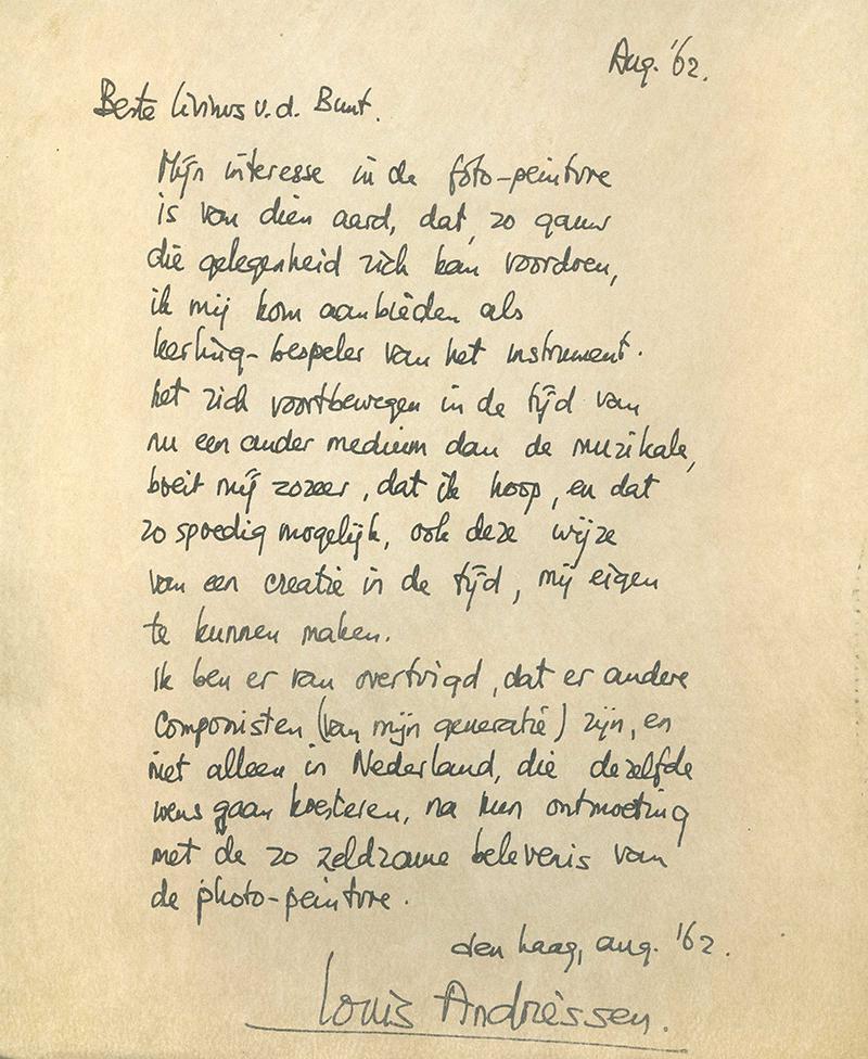 Brief van Louis Andriessen aan Livinus van de Bundt over lichtkunst, 1962