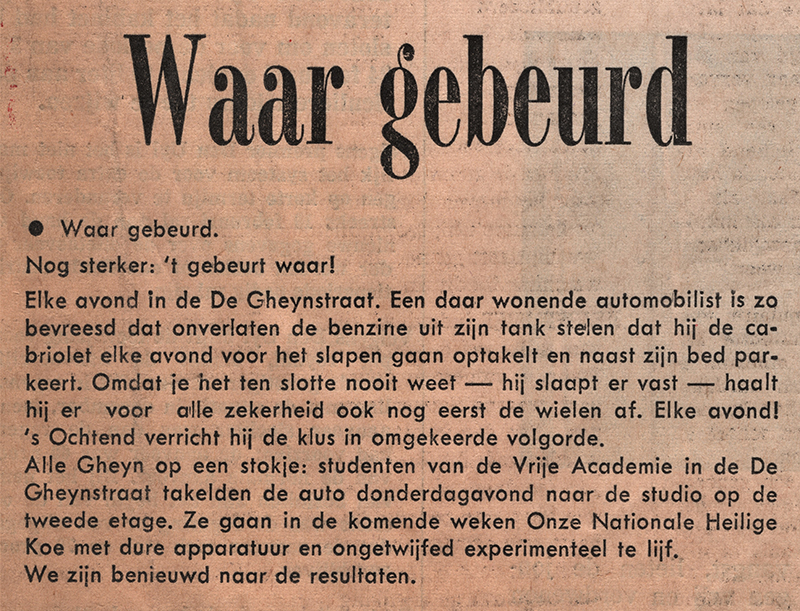 Haagse courant, januari 1974 - opgetakelde auto - tekst