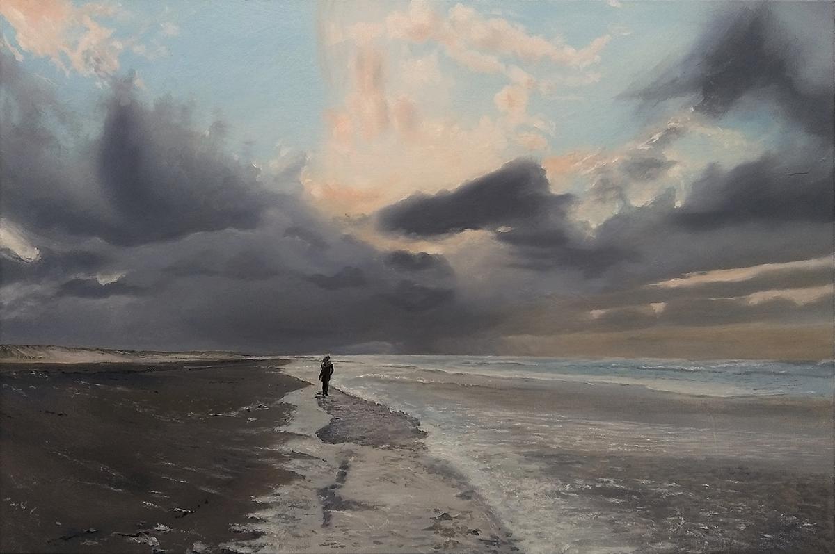 Wandelaarster op weg naar licht en donker (Geer Huybers, 2020)