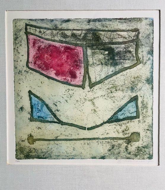 Kleuren ets, gemaakt op de Vrije Academie, waarschijnlijk in 1989 (Vivienne Lopes de Leão Laguna)